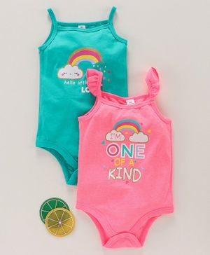 LC Waikiki Pack Of 2 Sleeveless One Of A Kind Printed Onesie Set  - Neon Pink & Blue