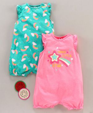 LC Waikiki Cap Sleeves Pack Of 2 Mom's Little Star Printed Romper Set - Neon Pink & Blue