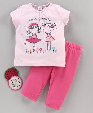 LC Waikiki Short Sleeves Girls Printed T-Shirt With Pants Set - Baby Pink