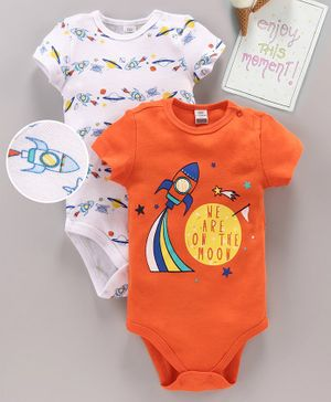 LC Waikiki Rocket Print Short Sleeves Pack Of 2 Onesies - Orange