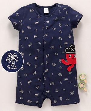 LC Waikiki Short Sleeves Palm Tree Print Romper - Blue