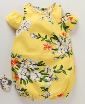 LC Waikiki Cold Shoulder Short Sleeves Floral Printed Romper - Yellow