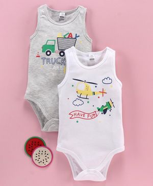 LC Waikiki Sleeveless Pack Of 2 Helicopter Printed Onesie Set - Grey & White