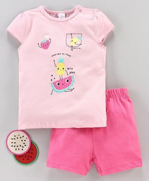 LC Waikiki Short Sleeves Fruits Printed Top With Shorts Set - Pink