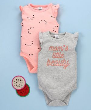 LC Waikiki Sleeveless Set Of 2 Text & Cartoon Printed Onesie - Peach & Grey