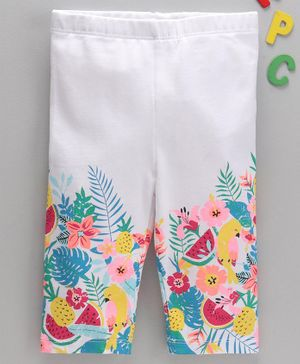 LC Waikiki Full Length Flower Printed Leggings - White