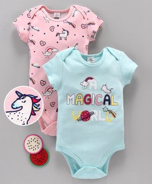 LC Waikiki Unicorn Print Short Sleeves Pack Of 2 Onesies - Pink & Sea Green