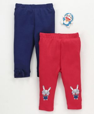 LC Waikiki Pack Of 2 Bunny Patch Detailing Leggings - Red & Blue