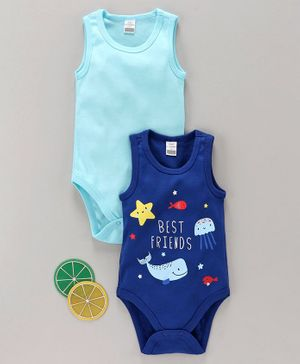 LC Waikiki Fish Print Sleeveless Pack Of 2 Onesies - Blue