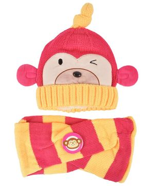 Yellow Bee Monkey Theme Cap & Scarf Set - Pink & Yellow