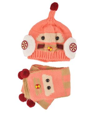 Yellow Bee Cartoon Theme Cap & Scarf Set - Peach