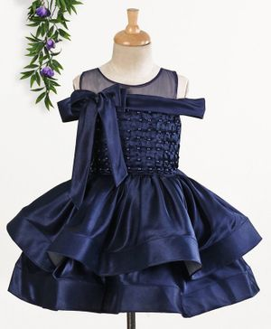 Enfance Short Sleeves Pearl Detailed Cold Shoulder Dress - Navy Blue