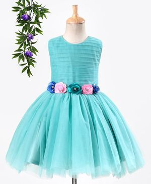 Enfance Sleeveless Flower Applique Net Dress - Green