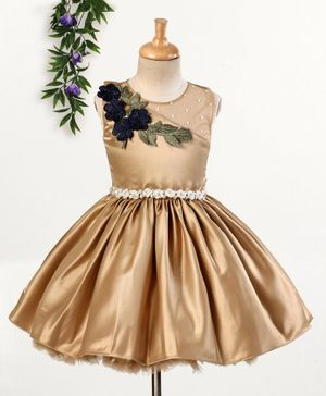 Enfance Flower & Leaves Applique Neckline Net Sleeveless Dress - Gold