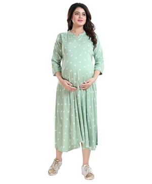 Mamma's Maternity Three Fourth Sleeves All Over Heart Printed Dress - Light Green