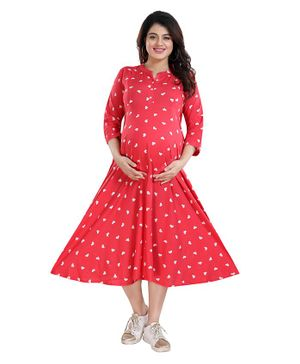 Mamma's Maternity Three Fourth Sleeves All Over Heart Printed Dress - Pink