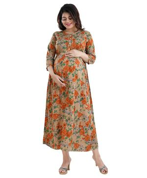Mamma's Maternity Three Fourth Sleeves Flower Printed Dress - Brown & Orange