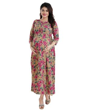 Mamma's Maternity Three Fourth Sleeves Flower Printed Dress - Brown & Pink