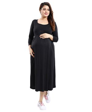 Mamma's Maternity Solid Three Fourth Sleeves Dress - Black