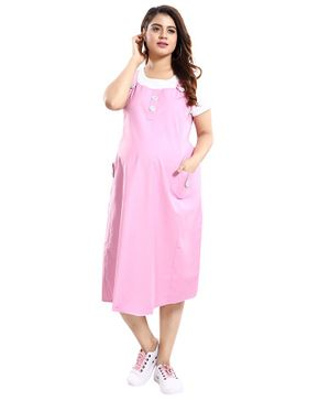 Mamma's Maternity Half Sleeves Solid Dress - Baby Pink