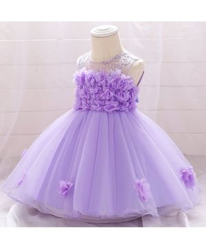 Awabox Flower Applique Sleeveless Tulle Flared Dress - Purple