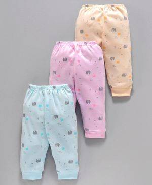 Zero Full Length Lounge Pant Elephant Print Pack of 3 - Blue Pink Peach