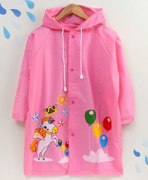 Full Sleeves Raincoat with Pouch Unicorn Print - Pink