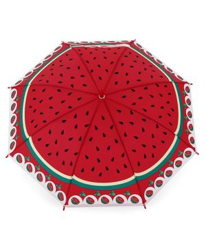 Printed Umbrella with Whistle - Red