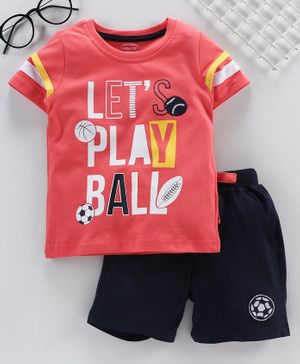 Babyhug Half Sleeves Knitted Tee & Shorts Ball Print - Coral Dark Navy