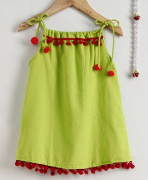 BownBee Sleeveless Pom Pom Lace Dress - Green
