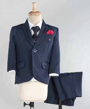 Robo Fry Full Sleeves 4 Piece Party Suit with Tie - Blue