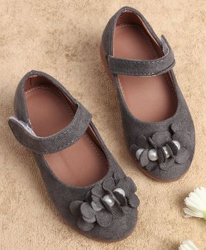 KIDLINGSS Pearl & Flower Detailed Mary Janes - Grey
