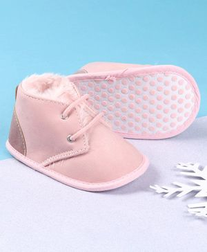 KIDLINGSS Lace Design Solid Booties - Pink