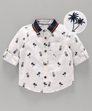 Babyoye Cotton Full Sleeves Shirt Pineapple Print - White