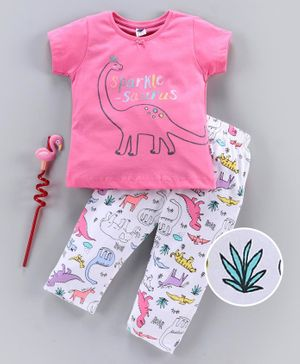 Teddy Short Sleeves Night Suit Sparkle Saurus Print - Pink White