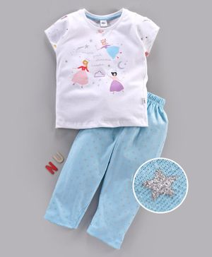 Teddy Short Sleeves Night Suit Star Embellished - White Blue