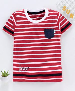 Teddy Half Sleeves Striped Tee - Red