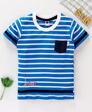 Teddy Half Sleeves Striped Tee - Blue