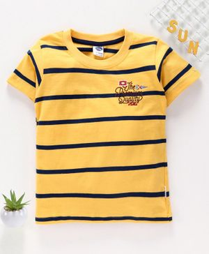 Teddy Half Sleeves Striped Tee - Yellow