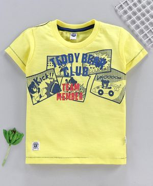 Teddy Half Sleeves T-Shirt Bear Print - Yellow