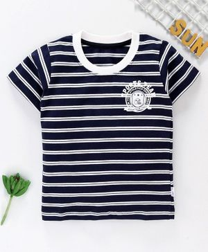Teddy Half Sleeves Striped Tee - Navy