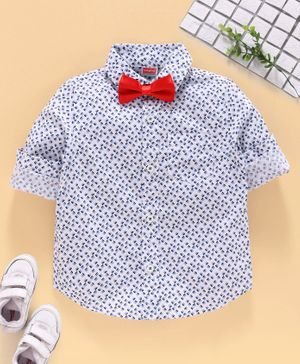 Babyhug Half Sleeves Party Wear Shirt with Bow - White Blue