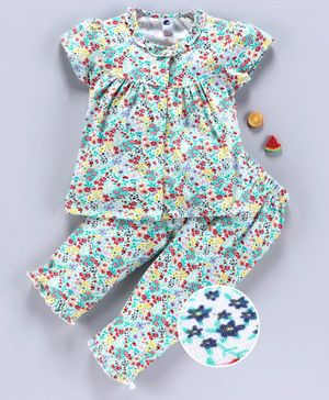 Teddy Short Sleeves Night Suit Floral Print - Green Blue