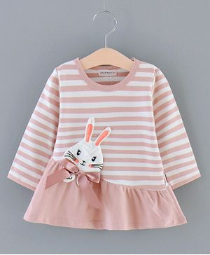 Kookie Kids Full Sleeves Striped Frock Bunny Patch - Pink