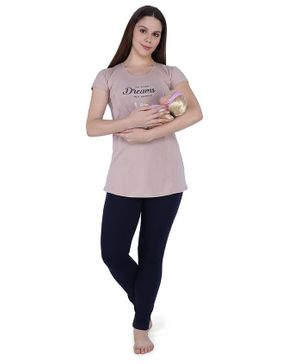 MomToBe Short Sleeves Go After Dreams Not People Print Feeding Maternity Night Suit - Beige