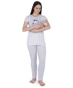 MomToBe Short Sleeves Doll Print Feeding Maternity Night Suit - Off White