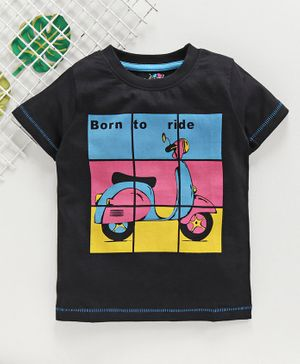 Ventra Half Sleeves Born To Ride Scooter Print Tee - Black