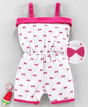 Mom's Love Singlet Sleeves Jumpsuit Bow Print - Pink