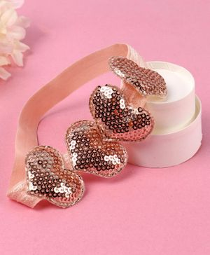 Babyhug Headband with Sequin Hearts Applique - Rose Gold