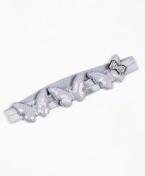Babyhug Headband with Sequin Butterfly Applique - Silver